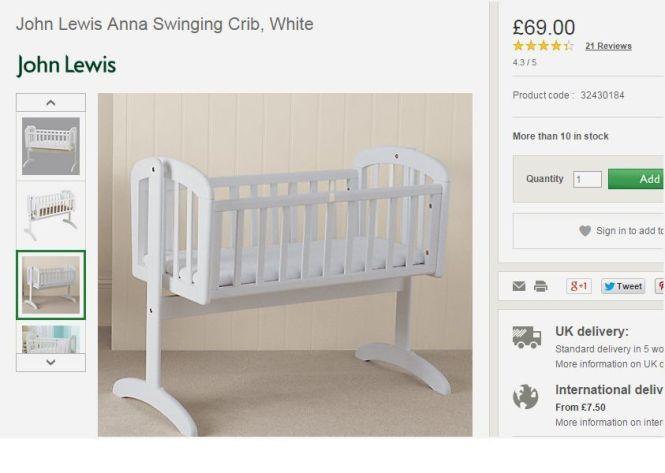 Brand New In The Box John Lewis Anna Swinging Crib White For