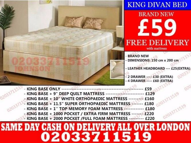 Brand New King Size Divan Bed Available With Mattress San Antonio