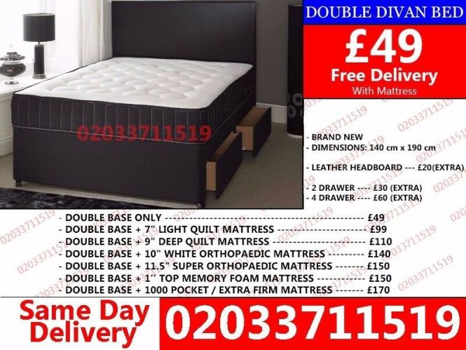 Brand New Double Divan Bed Available With Mattress Cincinnati