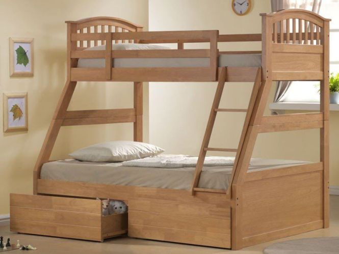 Triple Sleeper Bunk Bed Complete With New Single Mattress Like Double
