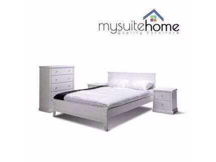 Campbelltown Dallas Queen Double Timber White Bed Frame