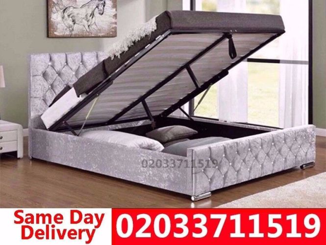 Brand New Double Crush Velvet Storage Bed Available With Mattress Get It Today