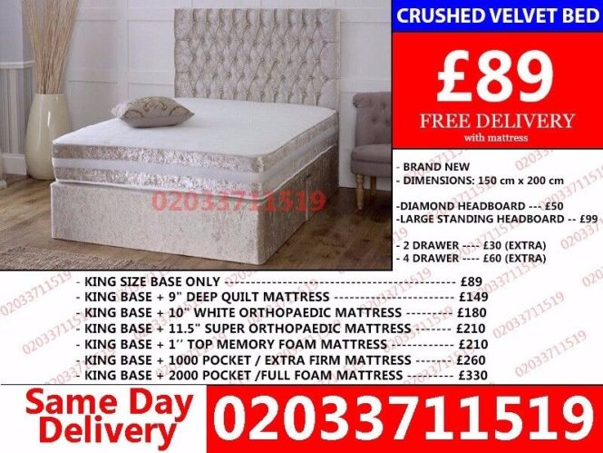 Crushed Velvet Bed King Size Available Double With Mattress Brand New Kansas City