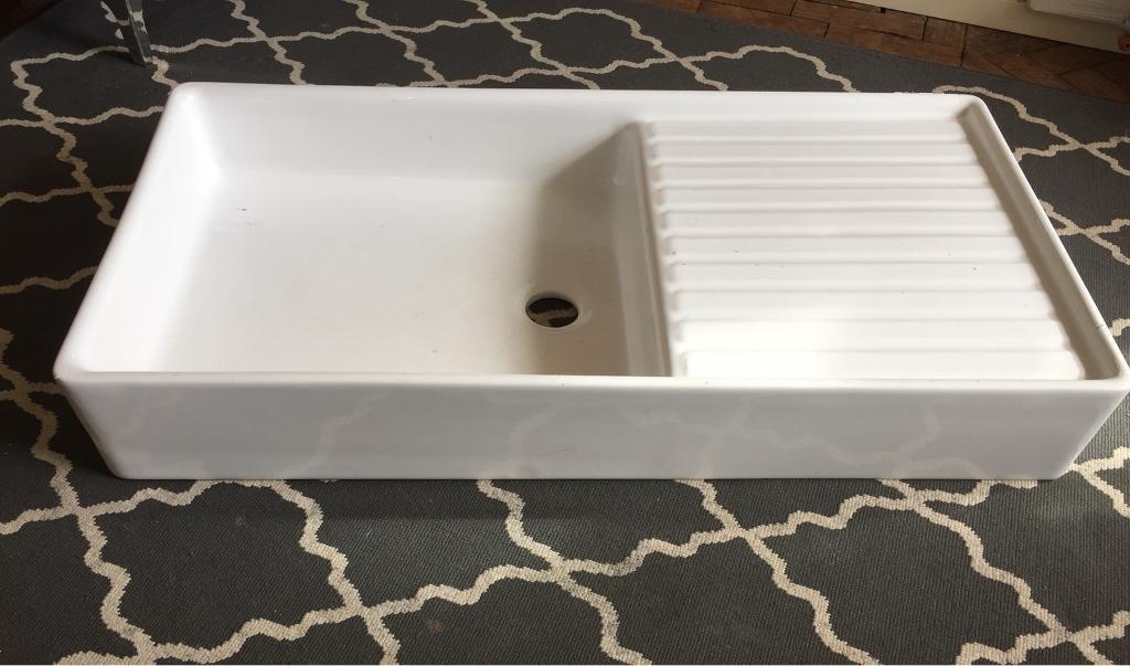 Ceramic Butler Sink With Draining Board Farmhouse Kitchen