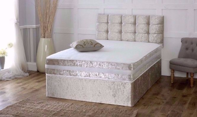 King Size Divan Crush Velvet With Luxury Orthopaedic Mattress Uk Strongly Manufactured Beds