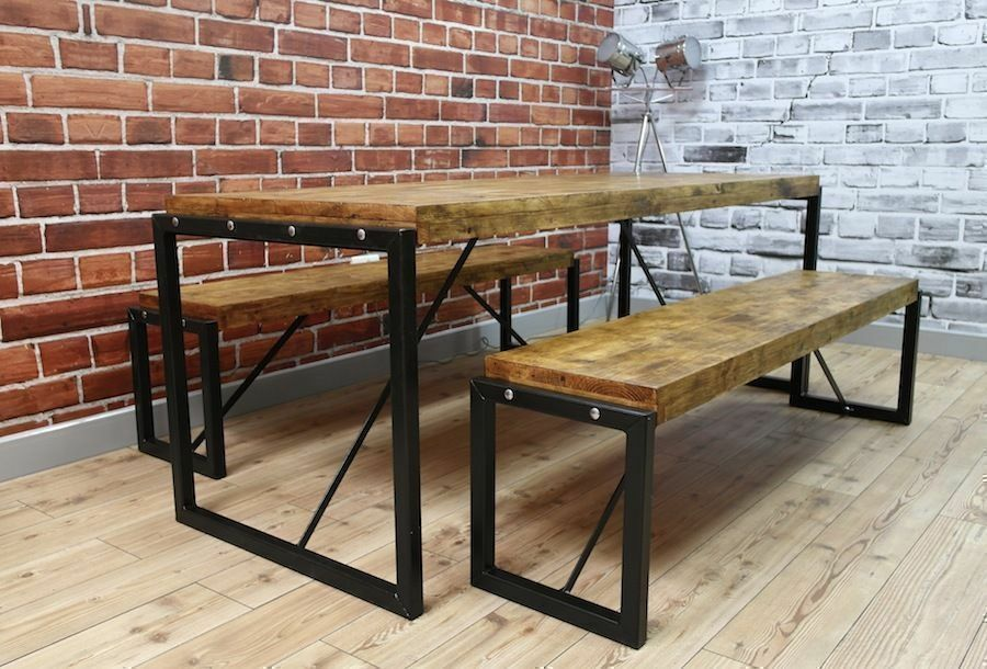 Industrial Dining Table Steel & Reclaimed Wood / Benches