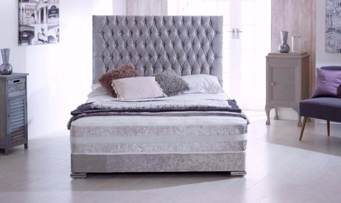 Small Double Single And King Crushed Velvet Divan Bed