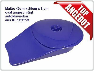 Stechbecken Bettpfanne Kunststoff mit Deckel oval angeschrägt Farbe: Blau