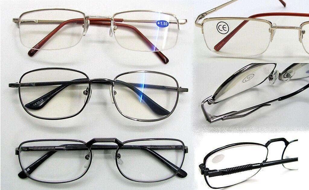 Herren Lesebrille Brille Lesehilfe DPT: +1,5 +2,0 +2,5 +3,0 +4,0 Metallgestell I