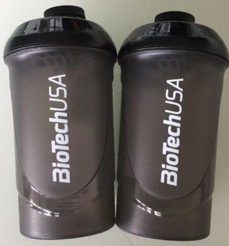 2 Eiweiß Shaker schwarz/grau  BioTech Wave  Protein Mixer mit Sieb 600 ml Füll..