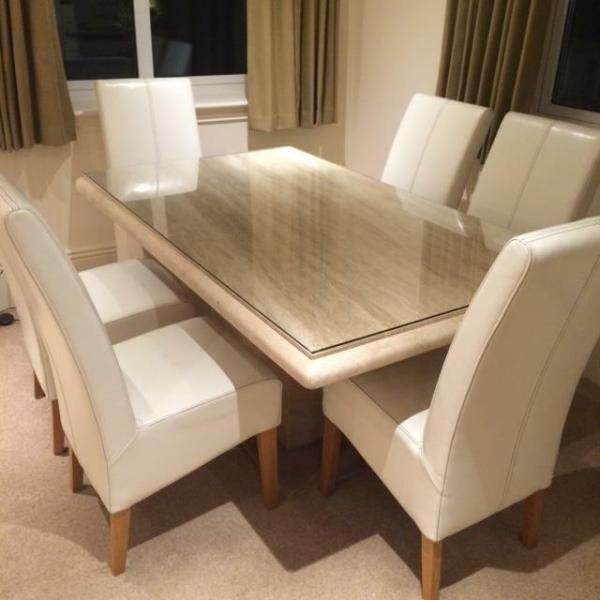 dining tables for sale 'Actona' Travertine Dining Table and 6 Cream Leather