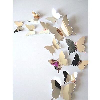 12 x 3D Trend Spiegel Schmetterlinge Sticker Wandtattoo Wandsticker Wanddeko