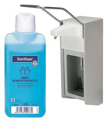 500 ml Wandspender Aluminium gebürstet Wandhalter + 500 ml Sterillium