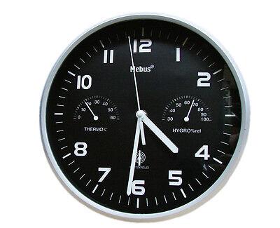 Mebus Funk Wanduhr Thermo Hygrometer Küchenuhr Uhr 25,5 cm Funkuhr Bürouhr U11