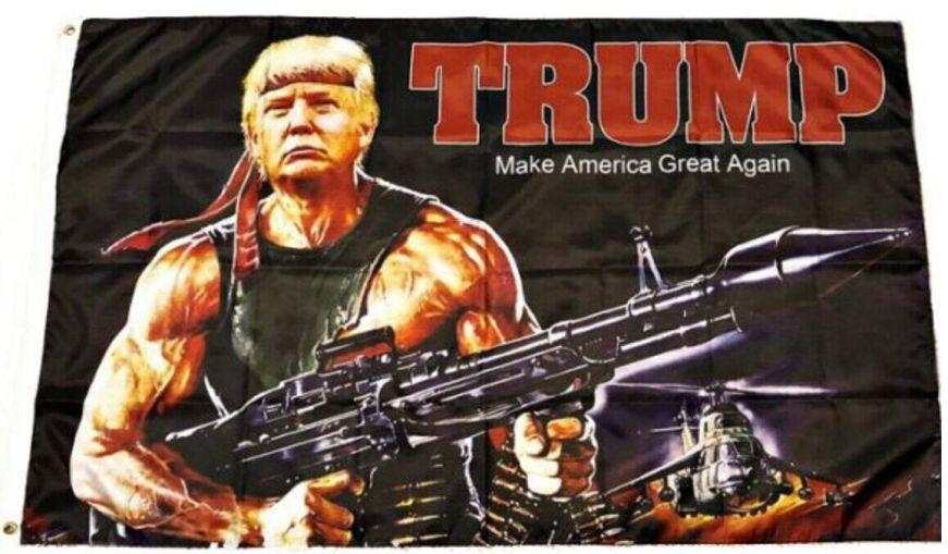 Rambo Trump Make America Great Again flag 3 x 5 Machine ...