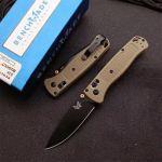 Custom Benchmade 535 BK-2 Bugout Pocket Knife With Ranger Green Handle