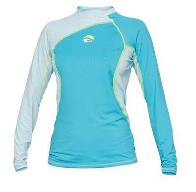 Bare Womens Long Sleeve Watershirt Rash Guard 50+ SPF UV Protection BLUE XL