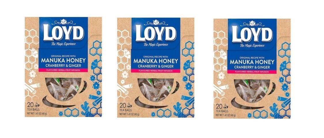3 Packungen x Loyd Manukahonig, Cranberry & Ingwer Pyramide Tee Aufguss 20 pro
