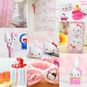 Cute Hello Kitty Bathroom Shower Curtain Adhensive Hook Soap Box Bath Acceossory