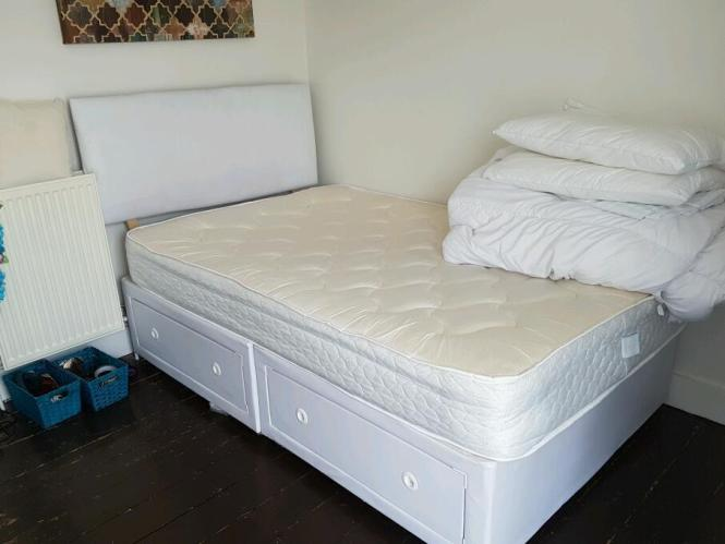 Small Double Divan Bed 2 Drawers House With Mattress