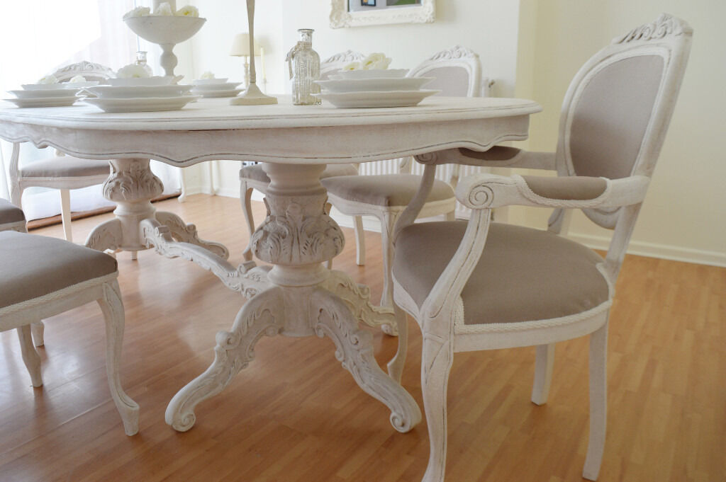 SUMMER DEAL !!! *** Antique Shabby Chic Dining Table & Six