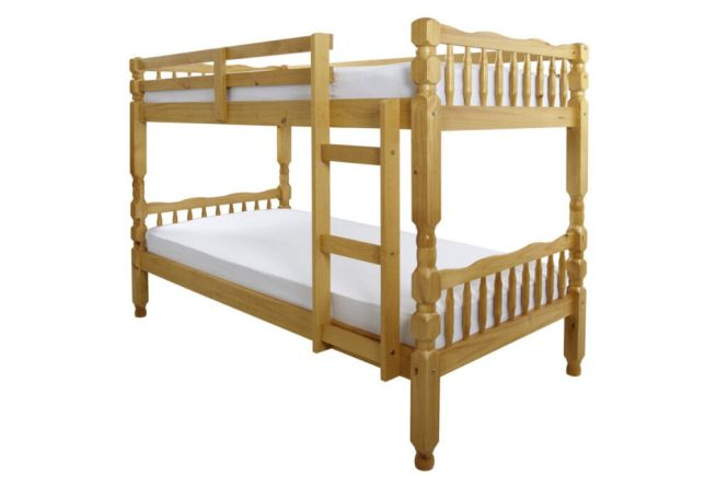 Solid Wooden Thick Brazilian Pine Bunk Bed With X 2