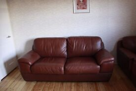 Three Set Of Queality Brown Leather Sofas In Excellent Condition