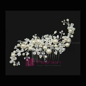 stunning bridal wedding rhinestones pearls diamante hair b clip ebay