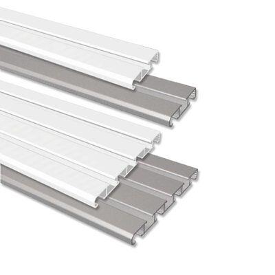 INTERDECO Vorhang - Gardinenschiene / Gardinenleiste Alu in Weiß u. Silber-Grau