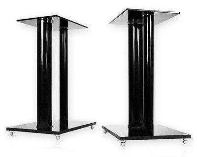 2 Boxenständer V2-Black Glas ALU Lautsprecher Ständer Stativ Säule Podest Sockel