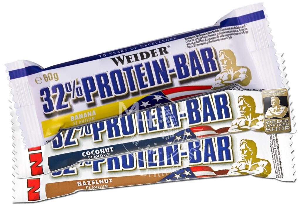 Weider 32% Protein Bar (19,79€/Kg) 24x 60g Box Eiweiß Riegel #Mixed ALLE SORTEN