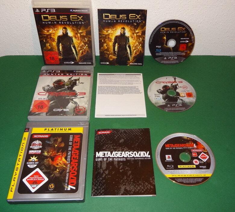 3 Spiele: Crysis 3, Metal Gear Solid 4 u. Deus Ex fuer PS3 Sony Playstation 3