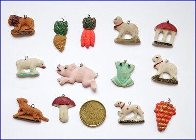 13 Stück Miniatur Tragant Christbaumschmuck - 1 Hälfte 20. Jahrhundert  (# 6545)