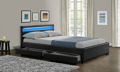 New Double King Size Bed Frame Led Headboard Night Light With Storage Mattress