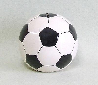 Spardose Fussball 13 cm KERAMIK schwarz/weiss Stopfen/Schloß B-Ware