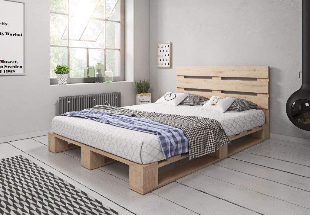 Palettenbett aus Holz Holzbett Massivholzbett Palettenmöbel mit Kopfteil