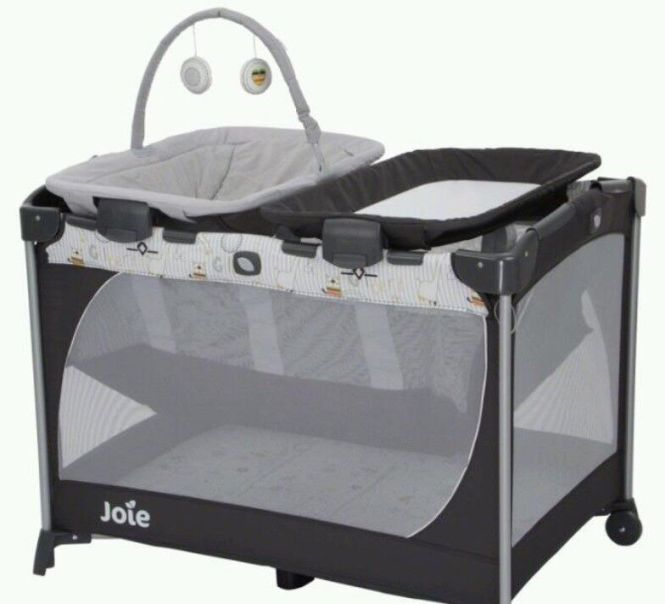 Joie Custom Click Travel Cot With Changer And Bouncer Extra Thick Foam Mattress Soundlights