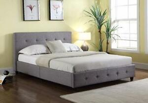 Upholstered Linen Platform Bed Free Delivery In Calgary
