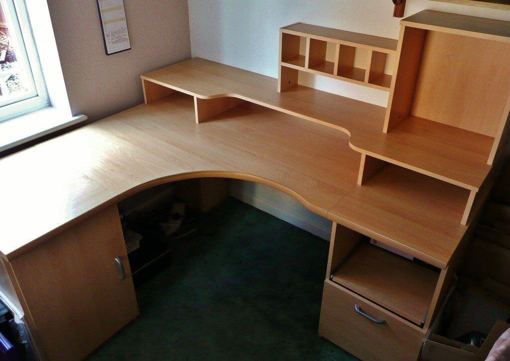 Pine Effect MDF Large Computer Corner Desk Home Office