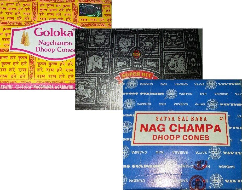 Indische Räucherkegel 7 Sorten Nag Champa, Goloka, Super Hit, Patchouli, Chandan