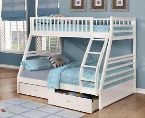 Free Delivery In Edmonton And Areas Twin Over Full Bunk Bed W Storage Drawers