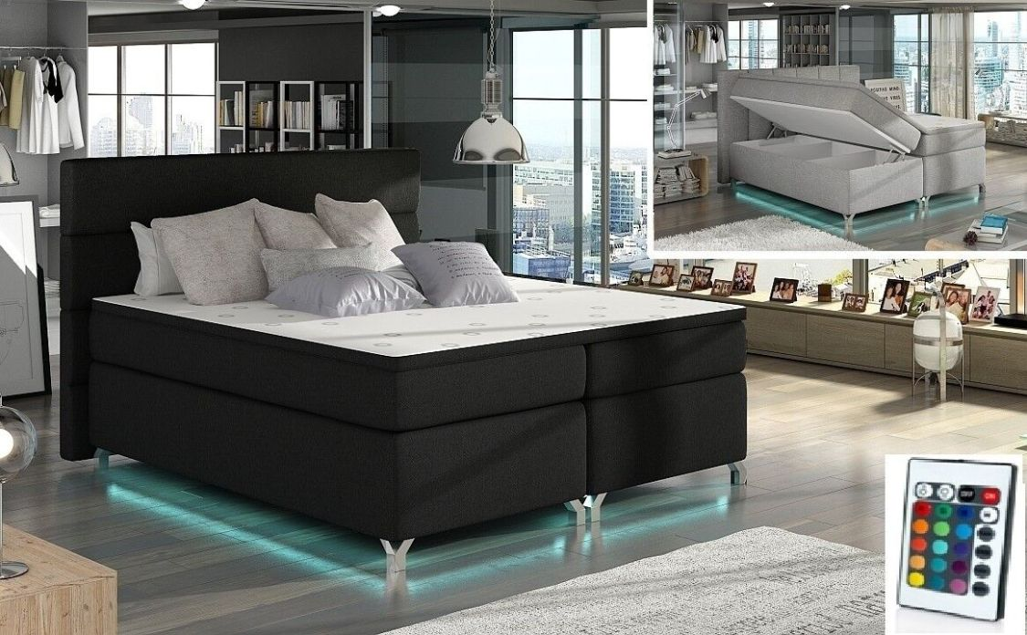 Boxspringbett Doppelbett mit 2x Bettkasten 160 o. 180 cm RGB LED Farbauwahl NEU