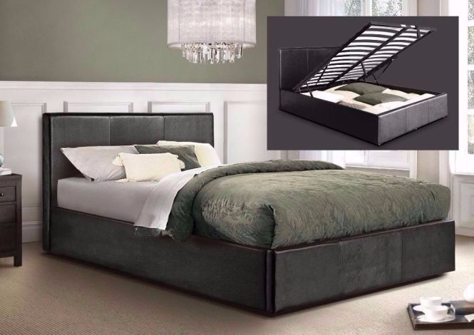 Double Or Small Leather Storage Bed With Semi Orthopaedic Mattress Ottoman
