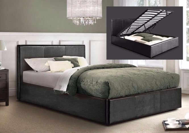 Quality Assured King Size Storage Leather Bed And Memory Foam Luxury Mattress Brand New