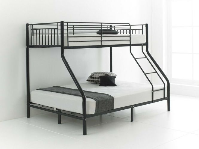 Trio Sleeper Metal Bunk Bed With Mattress And Double Bottom Single Top