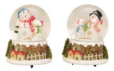 Große Spieluhr Schneekugel Ø 11 cm Schneemann Spieldose Weihnachten Melodie