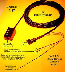 Cable97RemoteMicMikeExtensionMotorolaCDMCDM750CDM1250CDM1550VHFUHF