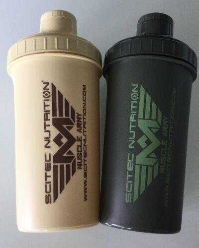 2 Eiweiß Shaker Scitec Muscle Army Protein Mixer m. Sieb 700 ml Füllmenge