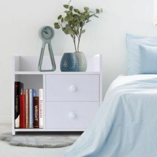 2 Drawers Nightstand Bedside Table Cabinet Storage Bedroom Home Furniture White