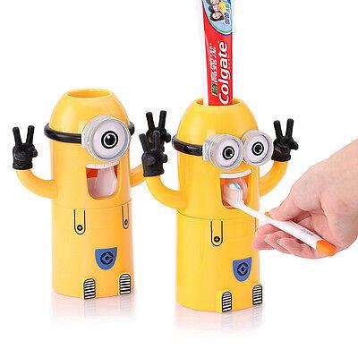 Cute Minions Automatisch  Zahnpastaspender Toothpaste Zahnbürstenhalter Squeezer